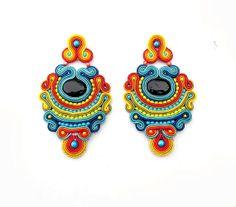High Fashion Earrings Long Soutache Clips Colorful by StudioGianna, $75.00