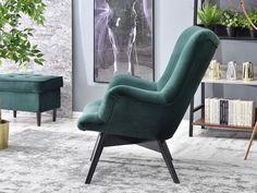 Fotel FLORI ZIELONY z pikowanego weluru na czarnej nodze - Mebel-Partner.pl Armchair, Furniture, Home Decor, Products, Living Room, Sofa Chair, Single Sofa, Decoration Home, Room Decor