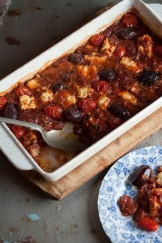 baked feta with tomato and olives | Drizzle and Dip