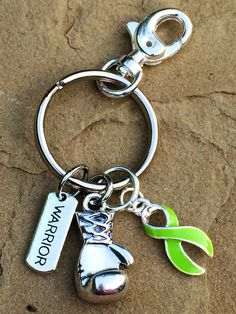 Lime Green Ribbon Keychain / Boxing Glove / Lime Disease Awareness / Lymphoma Survivor / Non-Hodgkin's lymphoma by RockYourCauseJewelry on Etsy
