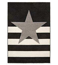 60e, 160x230, Kiertotähti-nukkamatto, musta-harmaa