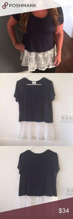 Navy and white lace blouse Brand new blouse Tops Blouses