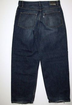 Mens Levis Silver Tab Baggy Jeans Tag Size 30 X 32 Dark Wash Distressed Hems #Levis #BaggyLoose