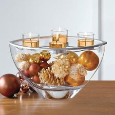 Clearly Creative™ Elevated Votive Centerpiece by PartyLite® Candles. gold, brown, ornaments, pine cones, filler, diy, clear glass, Christmas, holiday,