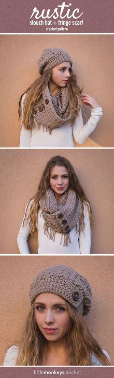 Rustic Slouch Hat Crochet & Fringe Infinity Scarf Pattern | Free Slouchy Hat & Infinity Scarf Crochet Patterns by Little Monkeys Crochet