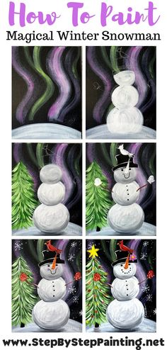 Christmas Paintings On Canvas, Christmas Canvas, Christmas Art, Snowmen Paintings, Christmas Tree Painting, Canvas Paintings, Snowman Crafts, Christmas Projects, Holiday Crafts