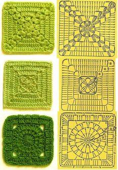 Crochet squares Cuadrados de ganchillo
