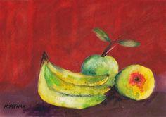 Bananas  Watercolor Still Life w.Fruit by halinapl on Etsy, $49.00