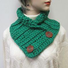 Kelly Green Chunky Scarf, Fall Womans Scarf, Green Scarf, Knit Scarves, Winter Chunky Scarves, Fall Crochet Scarf, Fabiana B1-013 by CeciliaAnnDesigns on Etsy