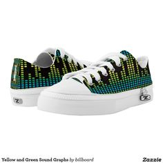Yellow and Green Sound Graphs Low-Top Sneakers