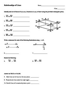 Worksheets Parallel And Perpendicular Lines Worksheet Answer Key the ojays and worksheets on pinterest parallel perpendicular skew intersecting lines