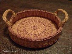 Поднос. Плетение. Плетение из газетных трубочек. Плетение из бумаги. Плетеные изделия.