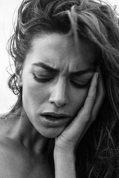 ❤YmM❤ Expression, hand, female beauty, hand, worry, powerful face, intense, strong, portrait, photo b/w.