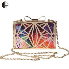 2016 New Fashion Women Handbags Metal Patchwork Shinning Shoulder Bags  Ladies Print Day Clutch Wedding Party d2ea899f0bacb