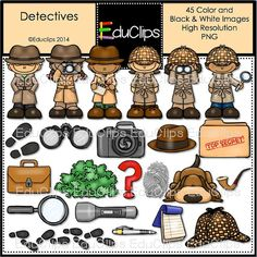 Detectives Clip Art Bundle by EduClips on Etsy Spy Birthday Parties, Spy Party, Detective Theme, Summer Camp Themes, Reading Anchor Charts, Spy Kids, School Clipart, Mission Impossible, Classroom Themes