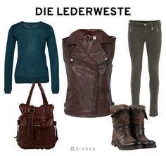 Braune Lederweste, petrolfarbenes Shirt, dunkelgrüne Hose, braune Tasche, braune Stiefel// brown leather vest, teal shirt, green pants, brwon bag, brown boots