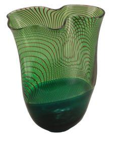 bob crooks glass art | Bob Crooks Glass Vase - Longitudinal in Green