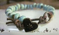 Aqua Ceramic  Leather and Copper Beaded and Knotted by KikisJewels, $17.50