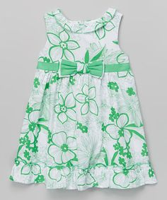 Look what I found on #zulily! Green & White Floral A-Line Dress - Toddler & Girls by La Fleur & Le Papillon #zulilyfinds