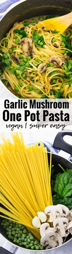 This vegan garlic mushroom one pot pasta makes such an easy and healthy vegan dinner! It's one of my favorite vegan recipes! If you love pasta recipes and easy meals, this is the perfect recipe for you! It's SO yummy and creamy!!