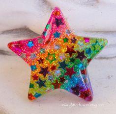 Rainbow Glitter Gradient Confetti Star Resin by GlitterFusion