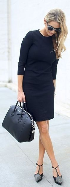 Pretty cute flattering black dress with tote bag and grey heels