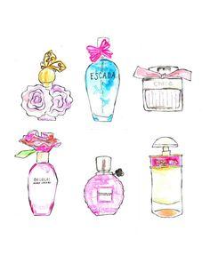 Watercolor Beauty Print Perfume Art Vanity Print by Lacee Swan