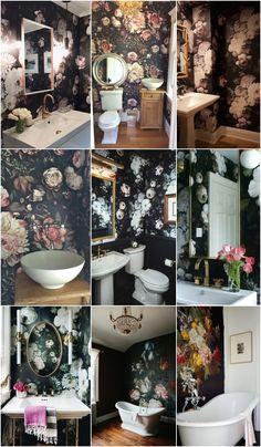 bathroom floral dark wallpaper mural wallpaper Suéter Azul: Papel de Parede e Murais Wallpaper Accent Wall Bathroom, Bathroom Mural, Bathroom Interior, Bathroom Sinks, Wall Paper Bathroom, Bathroom Flowers, Baños Shabby Chic, Floral Bedroom, Victorian Wallpaper