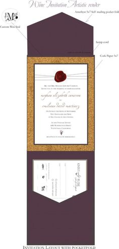 Wine Themed Wedding Invite With Cork, Not So Much The Wine Theme But The  Pocket