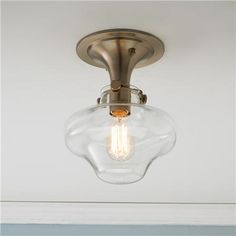 Modern Clear Schoolhouse Globe Ceiling Light- mudroom and pantry