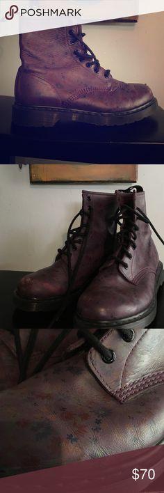 Selling this Doc Martens purplish/oxblood 8 hole boots on Poshmark! My username is: joliefrijole. #shopmycloset #poshmark #fashion #shopping #style #forsale #dr martens #Shoes