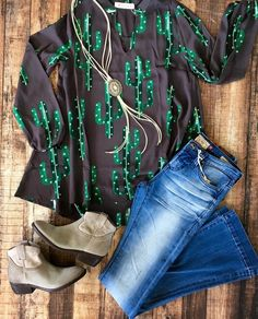 Cute Cactus top and the Lariat necklace goes with it so well  Boho Style, Cactus Love