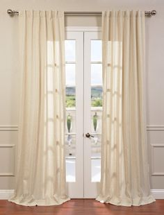 Lanai Natural Linen Blend Stripe Curtain - SKU: FHLCH-YL3022 at https://halfpricedrapes.com