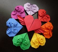 Origami Hearts by OrigamiPieces.deviantart.com on @deviantART