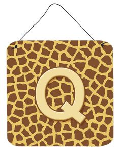 Letter Q Initial Monogram - Giraffe Aluminium Metal Wall or Door Hanging Prints