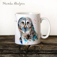 Great Grey Owl Mug Watercolor Ceramic Mug Unique Gift Coffee Mug... ($16) ❤ liked on Polyvore featuring home, kitchen & dining, drinkware, drink & barware, grey, home & living, owl tea cup, ceramic tea cups, bird mug and grey mugs