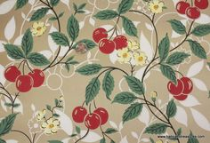 1940's Vintage Wallpaper Red Cherries and yellow blossoms