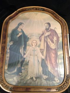Vintage Wood Framed Religious Picture Jesus Mary and Joseph Ornate Frame & Gold