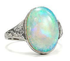 Art Deco Opal and Platinum Ring, c. 1925