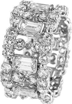 Idée et inspiration Bague Diamant : Image Description Flashy with no center stone- maybe good for big fingers like mine – jewellery items for ladies, best jewelry stores online, ladies imitation jewellery *ad Jewelry Ads, Best Jewelry Stores, Craft Jewelry, Jewellery Shops, Jewellery Box, Jewellery Quarter, India Jewelry, Temple Jewellery, Jewellery Designs