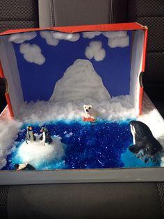 Arctic Diorama Ocean Projects, Animal Projects, Science Projects, School Projects, Projects For Kids, Project Ideas, Arctic Habitat, Bear Habitat, Narwhal Habitat