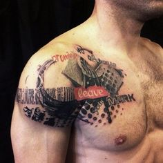 We have trend of shoulder tattoo styles in which big tattoo styles. Recently, we have brought these tattoo styles for body builders. This is a perfect option shoulder tattoo for body builders that has designed. Life Tattoos, New Tattoos, Tattoos For Guys, Cool Tattoos, Tatoos, Awesome Tattoos, Tattoo Trash, Trash Polka Tattoo, Trendy Tattoos