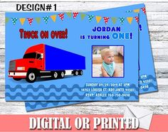 Amazon.com: Trailer Truck Personalized Birthday Invitations More Designs Inside!: Handmade Personalized Birthday Invitations, Birthday Party Invitations, Sms Text, Print Store, Invitation Set, Make Design, Machine Learning, Rsvp, Trucks