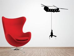 Helicopter & Army Soldier www.quickerwithasticker.co.uk Vinyl Wall Art