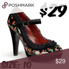 Selling this Cherry Mary Jane Pin Up Shoes High Heels 50s Girl on Poshmark! My username is: thepinupshop. #shopmycloset #poshmark #fashion #shopping #style #forsale #Pinup Couture #Shoes