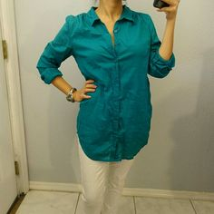 H&M Linen boyfriend button down shirt This shirt is great and breathable. The color is sea green. H&M Tops
