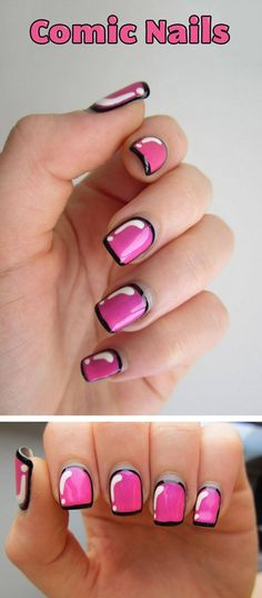 Comic Nails. Apply a colourful base coat. Use a white polish with a thin brush. Finally add an outline with a thin brush, or use a sharpie. Apply a topcoat and BAM! you're done