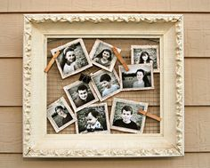 Old frame + chicken wire + clothes pins = easy, cute picture display!