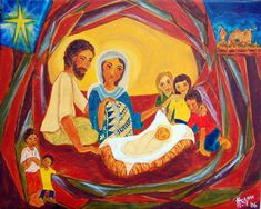 "Nativité - Nativité --- Hanna Varghese, ""God is With Us,"" Acrylic on canvas, 16 x 20 in. Christmas Bible, A Christmas Story, Christmas Ideas, Christian Images, Christian Art, Nativity Painting, Hanna, The Birth Of Christ, Egypt Art"