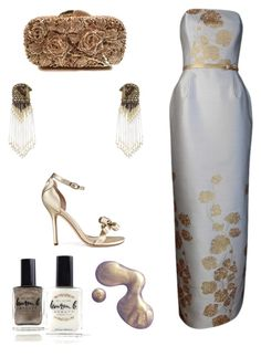 """""""Gold + White"""" by runway2street ❤ liked on Polyvore featuring Plakinger, Otazu, Forest of Chintz, Isa Tapia, Lauren B. Beauty and holidaystyle"""